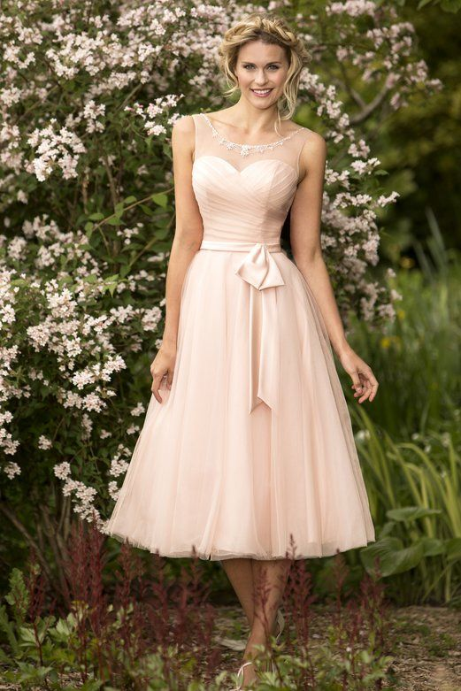 A-line Scoop Neck Lace Trimmed Pink Tulle Tea Length Bridesmaid Dress