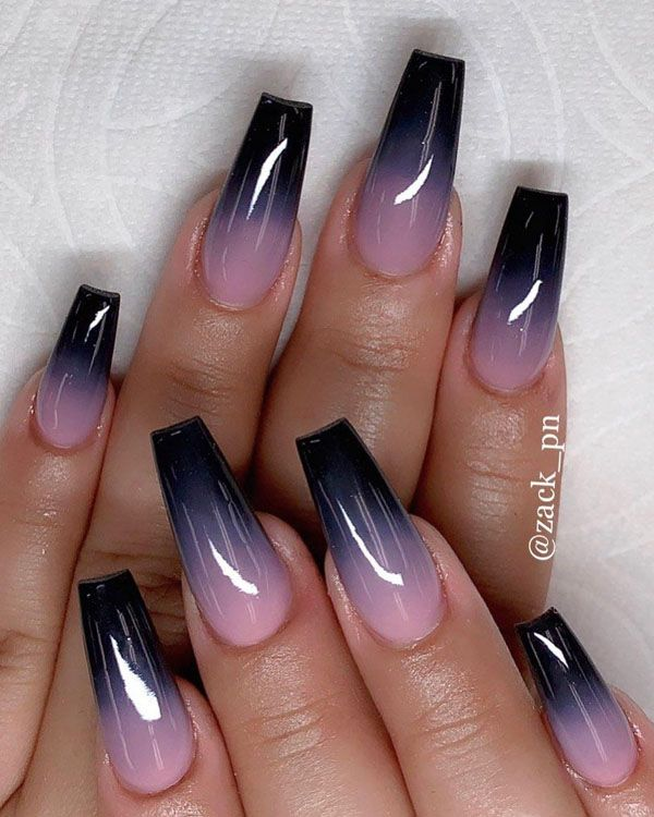 56 Trendy Ombre Nail Art Designs In 2020 Black Acrylic Nails