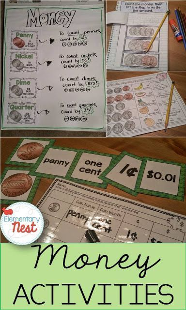 Money Activities for primary education- teaching students to recognize coins, know their worth, apply that to counting money, and solve problems with money- hands on activities for money