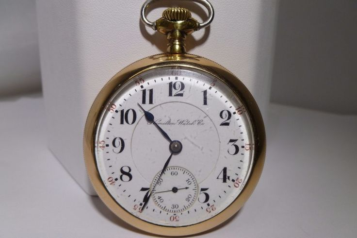936 Hamilton Pocket Watch 17 Jewels Adjusted 18 Size Double Sunk Dial Gold Field #Hamilton