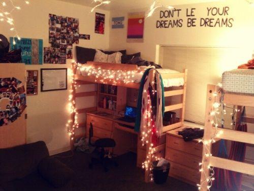 Double lofted dorm room
