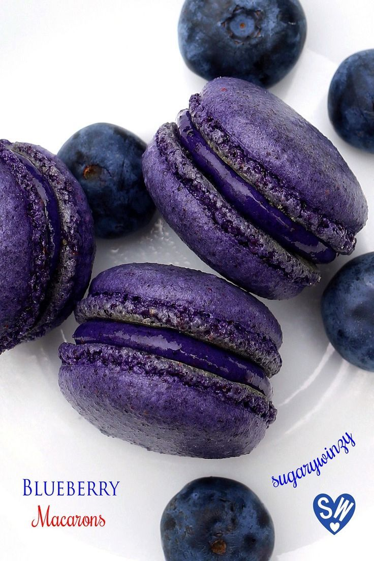 These blueberry macarons are deeply flavored both in the macaron shells and in the filling.