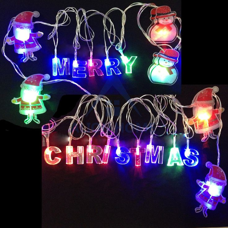 Merry Christmas Letter Santa Claus String Lights Holiday Xmas Decorations 15 Ft Home For The ...
