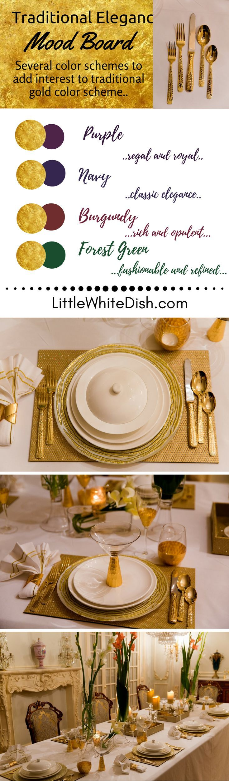 Looking for those perfect pieces to create that stunning table, and give you versatility? Here are those essential pieces to last forever! gold tablesetting, tablescape, ideas, dinnerware, traditional holiday table, chargers, placemats, glasses,