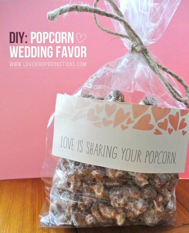 DIY Popcorn Wedding Favors Love the quote