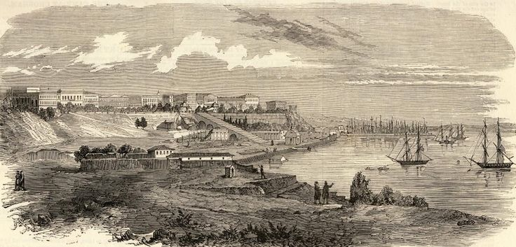View on Odessa's harbor and the city (Primorsky blvd) 1850s