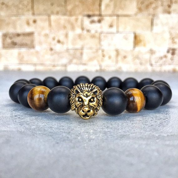 Mens 10mm Lion Tiger Eye Bracelet Mens Onyx by Miaudesignco