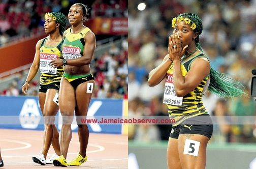 (L) Shelly-Ann Fraser-Pryce (left) and Veronica Campbell-Brown after the 100m final. (R) The 'Pocket Rocket', Shelly-Ann Fraser-Pryce waiting for the final time to be posted.