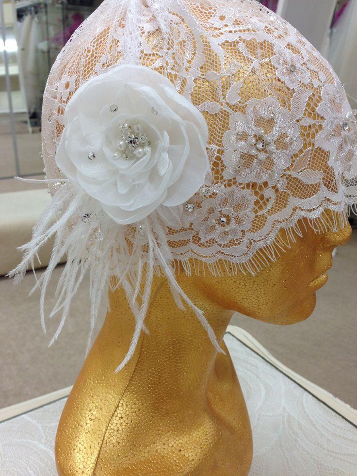 Gatsby Ivory Lace Bridal Cap