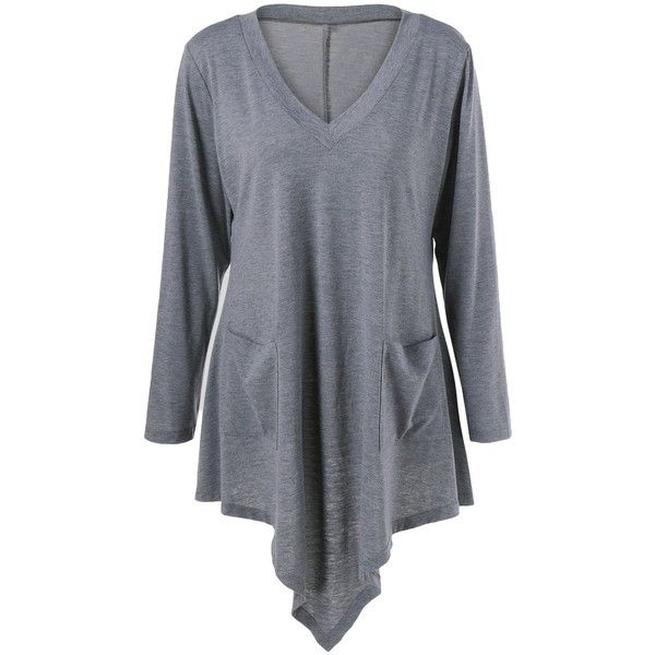 Plus Size Double Pockets Asymmetrical T Shirt ($15) ❤ liked on Polyvore featuring tops, t-shirts, asymmetrical tee, plus size womens tees, plus size tops, women's plus size tops and plus size asymmetrical tops