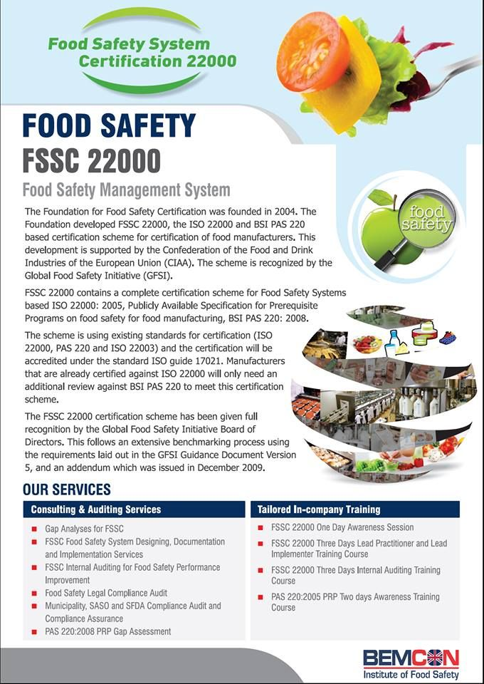FoodSafetySystem Certification 22000 (FSSC) at the