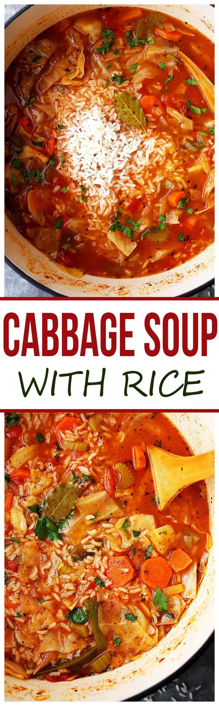 Cabbage Soup with Rice - Healthy, hearty and delicious cabbage soup with rice and vegetables. #ad @huntschef #HuntsDifference