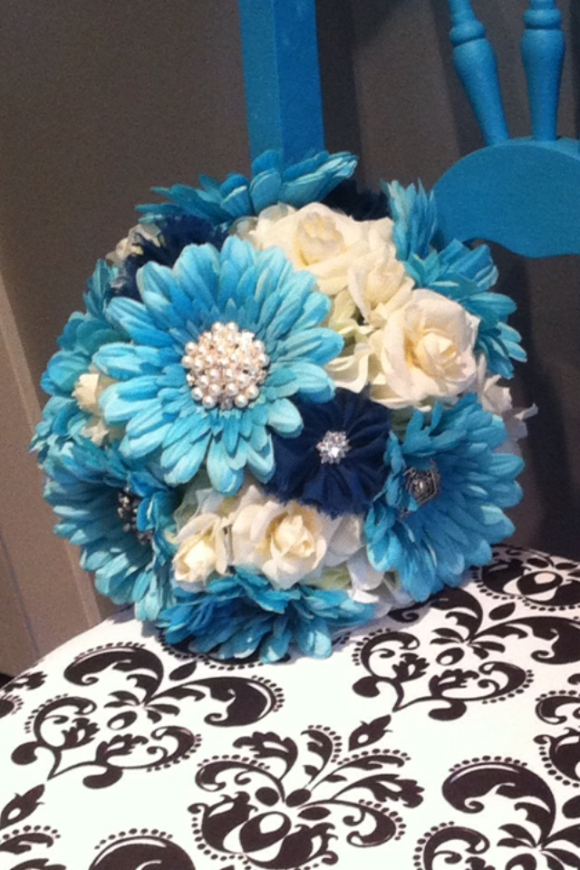 "DIY Bouquet: Hydrangeas, white roses, Dyed Teal/Aqua Gerber Daisies with jeweled centers, false navy ""shabby"" flowers. SO EASY TO MAKE!"