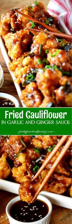Fried Cauliflower in Garlic and Ginger Sauce. Use GF flour and Braggs instead of soy sauce