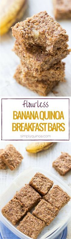 Flourless Banana + Quinoa Breakfast Bars // These are HEALTHY + DELICIOUS! Plus, they're made without gluten, refined sugar and eggs! http://healthyquickly.com