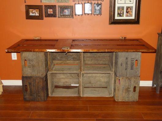 interesting: Crafting Storage Desks Lov, Crafts Desks, Crafts Storage Desks, Doors Desks, Apple Crates, Apples Crates, Desks Did It Myself, Desks Cupcake1007, Vintage Doors