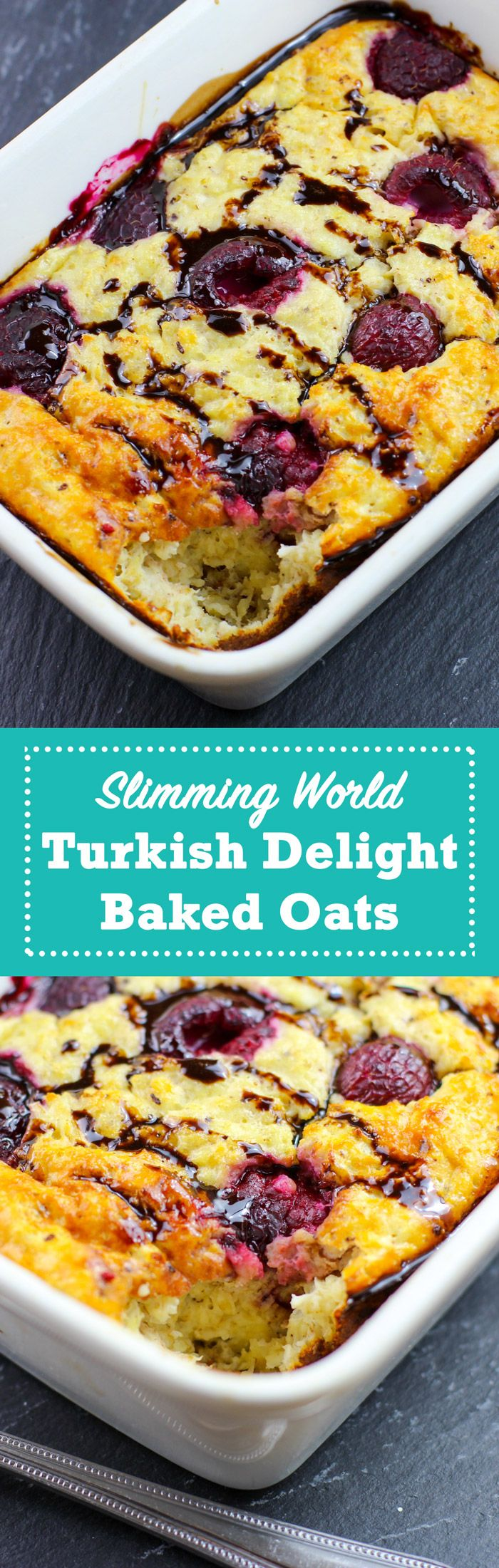 Healthy, low fat Turkish Delight Baked Oats - Pinch Of Nom