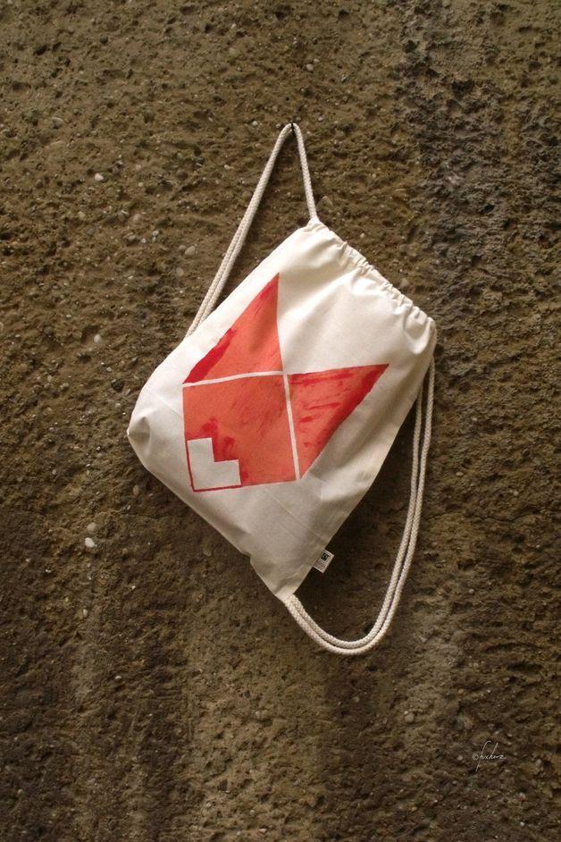 Handgedruckter Jutebeutel mit Fuchs-Druck / handmade, printed tote bag, gym bag- with fox print, hipster style by Fuxherz via DaWanda.com