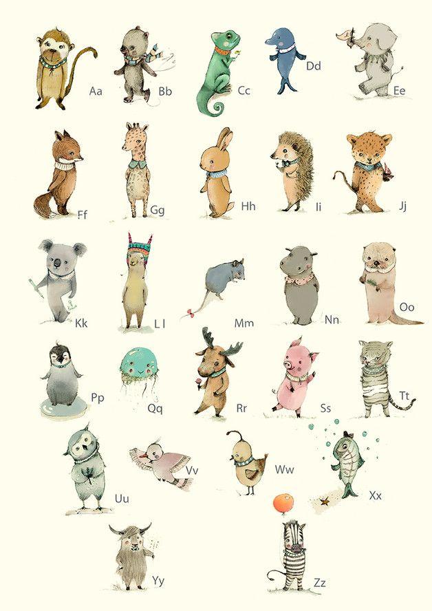 Tier-ABC Poster fürs Kinderzimmer, Illustration / illustrated artprint with animal alphabet, home decor for the nursery made by PaolaZakimi via DaWanda.com