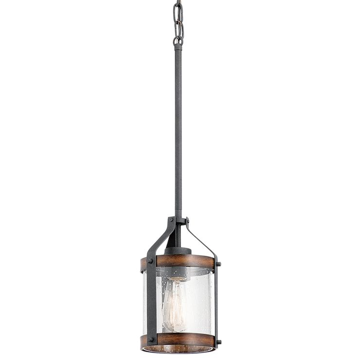 Kichler Lighting Barrington 5.5-in Distressed Black and Wood Rustic Single Seeded Glass Drum Pendant