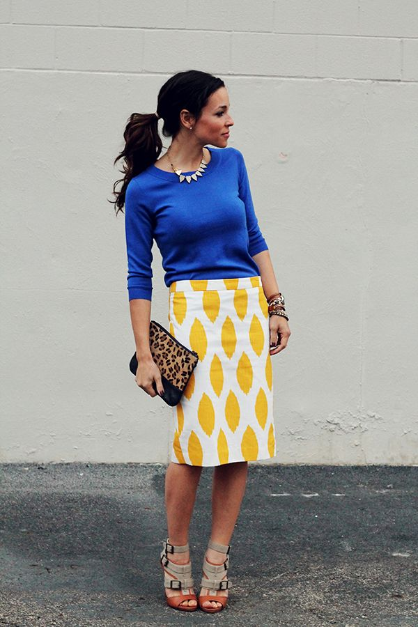 bright blue sweater with yellow pencil skirt