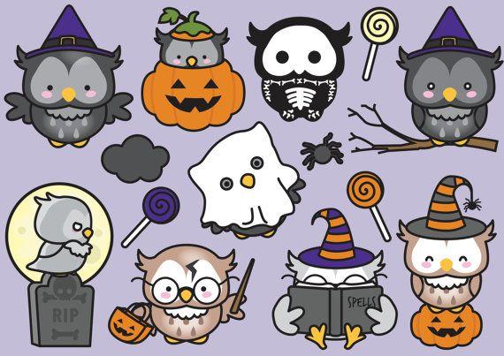 Premium-Vektor Clipart Kawaii Halloween Eulen Cute