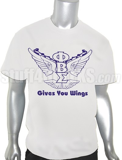 "Price: $39.00  ""Gives You Wings"" across a white Phi Beta Sigma t-shirt with the Greek letters vertically between Red Bull wings. This design is embroidered, not screen-printed. The result is a higher-quality garment where the letters are stiched-on (sewn into the garment) and the image will never fade, crack, nor peel."
