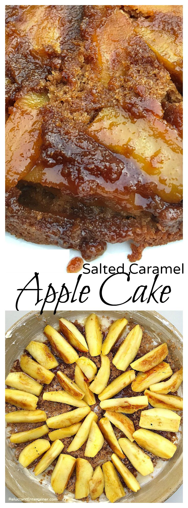 Salted Caramel Apple Cake for holiday entertaining! at ReluctantEntertainer.com