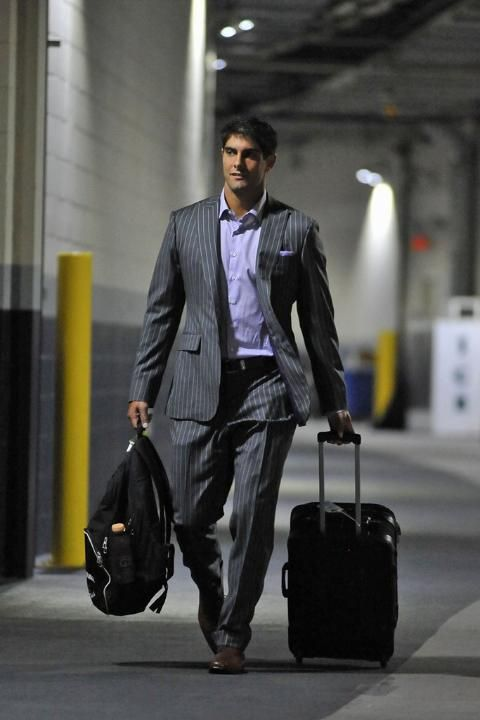 Jimmy Garoppolo with the pin stripe suit and pocket square for accent. #RoadTripStyles