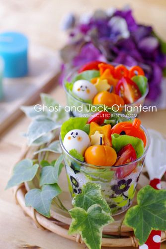 Awesomely adorable Halloween Bento Cups.