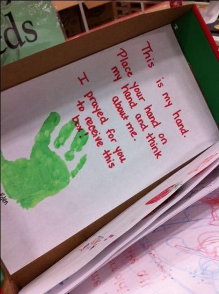 operation shoebox handprint prayer - Google Search