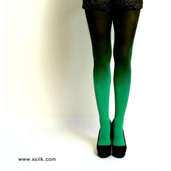 Ombre Tights Emerald Green Hand Dyed Opaque Tights. (573.800 IDR) ❤ liked on Polyvore featuring intimates, hosiery, tights, grey, women's clothing, gradient tights, opaque pantyhose, plus size pantyhose, opaque tights and thick opaque tights