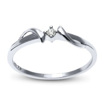 10k White Gold Promise Ring With Round Diamonds