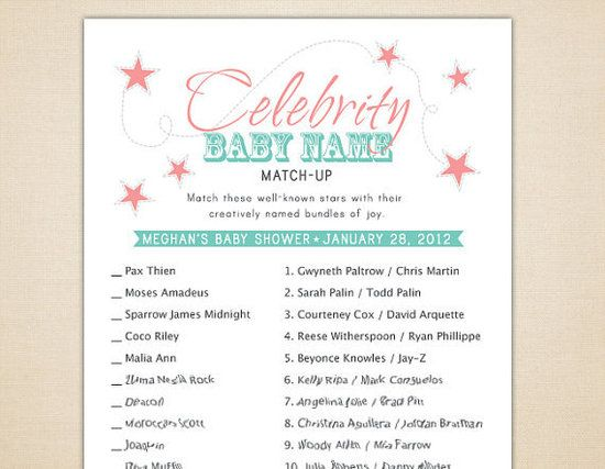 Celebrity Baby Name Game: Test your guests pop culture savoir faire with a round of Celebrity Baby Name Game ($8 for customized printable PDF). Leave these at each place setting for an easy icebreaker and conversation starter.