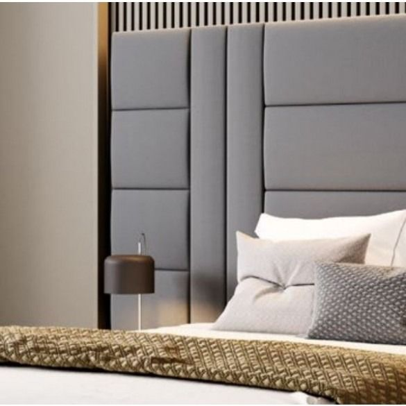 Amazon X L Bed With Huge Headboard 2 Side Tables Walnut Grey Fabric Living Room Decor Furniture Bedroom Interior Design Luxury Matching Bedding And Curtains