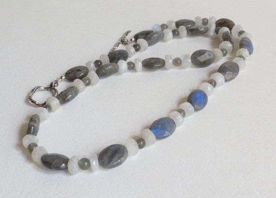 Spectacular Labradorite and Moonstone Necklace.  Two different shapes of Labradorite and One of Moonstone. Stones have that Flash of colors. The larger pieces of Labradorite have lots of Blue Flash. I was happy some of the photos captured it. #Labradorite, #Moonstone, #SterlingSilver, #Necklace, #Jewelry, #Handmade,