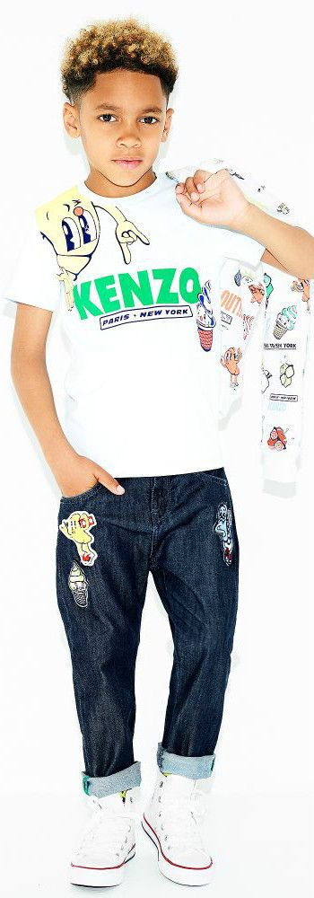 KENZO KIDS Food Fiesta T-shirt & Jeans from the Spring Summer 2018 Collection. Super Cool Streetwear Look for Boys Inspired by the Kenzo Men's Runway Collection at Paris Fashion Week. #kenzo #boysclothing #minime #kidsfashion #fashionkids #childrensclothing #boysfashion
