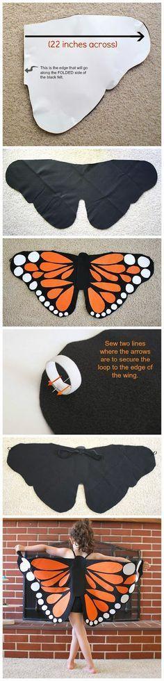 Disfraz en fieltro de mariposa monarca ✿⊱╮
