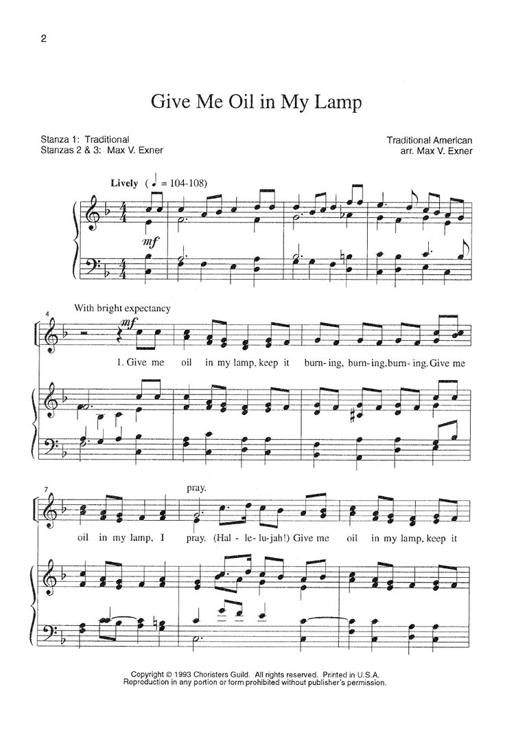 give me oil in my lamp sheet music pdf