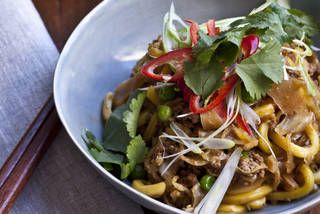 Chow mein-style pork with cabbage, peas and Hokkien noodles