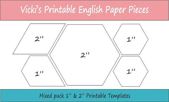 1 & 2 finished size mixed pack of Basic Shapes Printable English Paper Piecing Pieces ready for instant download.  These are perfect for the sewer who wants to be able to print and cut her EPP pieces at any time, once you have downloaded this file you have it for reprinting whenever you wish.  This pack of printable sheets includes the following shapes with 1/2 sides that will work together in the one project:  - 1 hexagon  - 1 jewel (2 on long edge)  - 2 hexagon  - 2 diamond If you require…