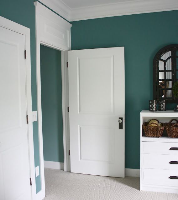 Cape Cod Color Schemes: Love This Teal Color Against The White Moulding! The