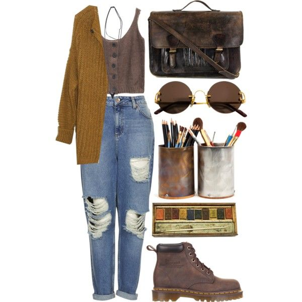 A fashion look from December 2014 featuring button down cardigan, scoopneck tank and destroyed boyfriend jeans. Browse and shop related looks.