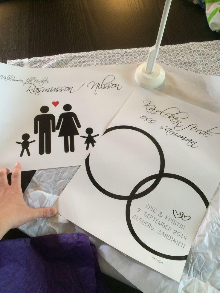 Bröllopspresent och familjetavla. Båda är perfekta som gå-bort gåva eller present.