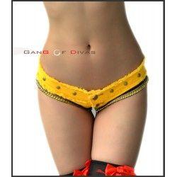 Gold Chain & Studs Frayed Yellow denim jeans shorts/Hot denim shorts, cheeky shorts, Ultra low rise shorts sexy.