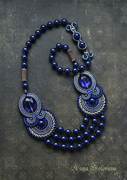 "Necklaces, handmade beads.  Fair Masters - handmade.  Buy Necklace ""blue opium"".  Handmade.  Blue, soutache"