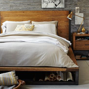 I like this bedframe and headboard combo from West Elm.