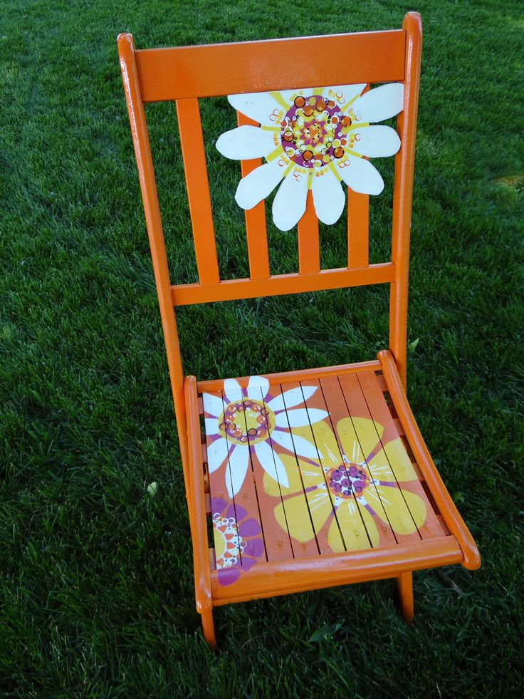Happy Day An Old Wooden Folding Chair With A New Look Bright Orange