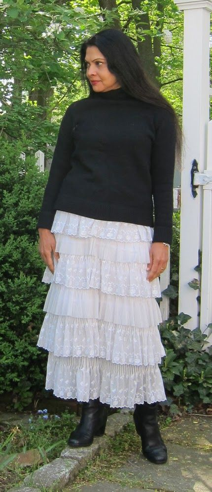 Lace:  J. Crew wool cashmere sweater, CK Calvin Klein lace dress worn as a skirt and Clark ankle boots - 2017