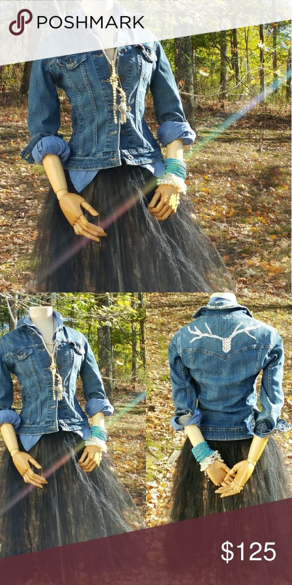 Recycled Levi jean jacket Gentle embroidered deer head on the back Levi's Jackets & Coats Jean Jackets